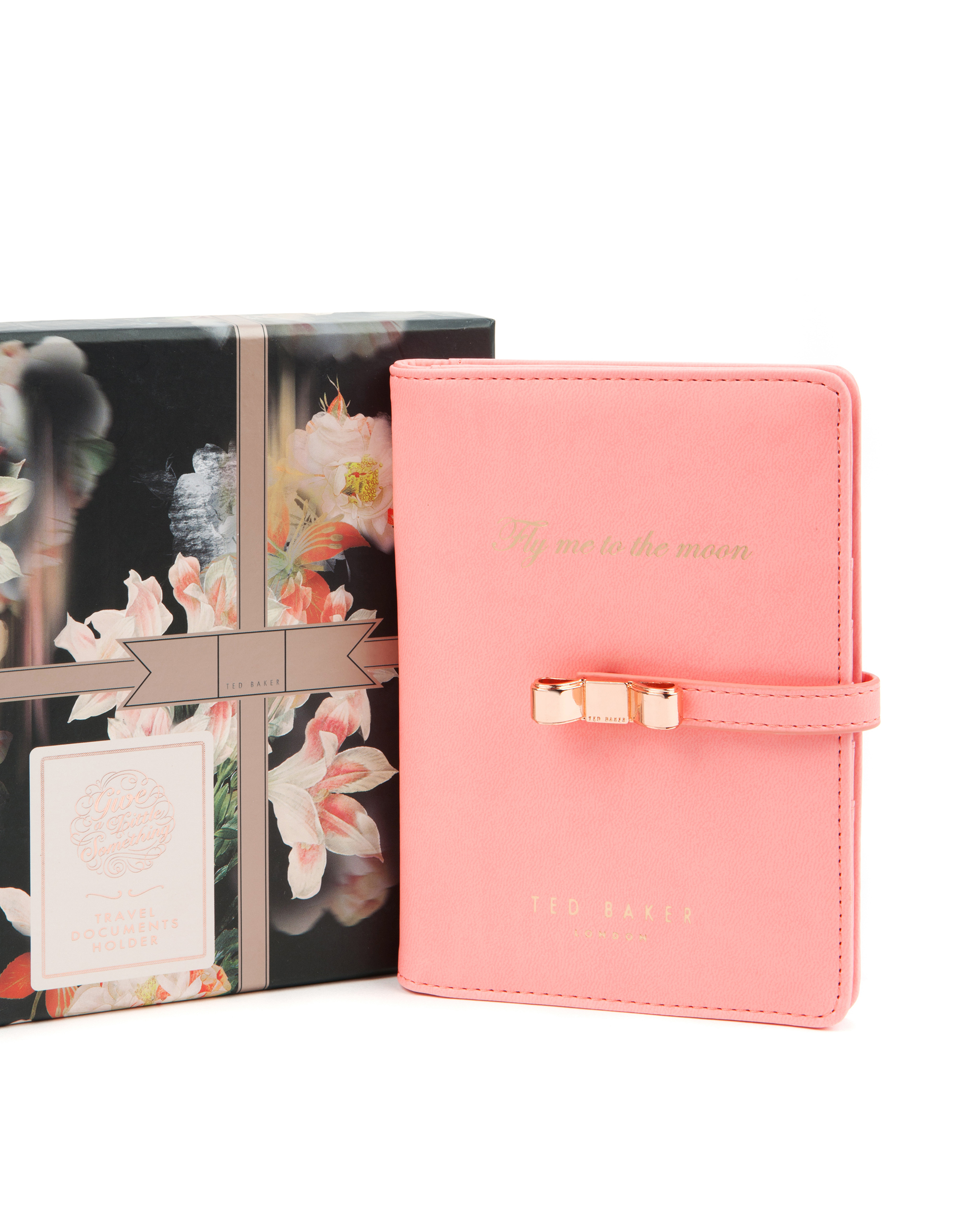 Ted Baker Travel Documents Holder Faux Leather Gold One Size