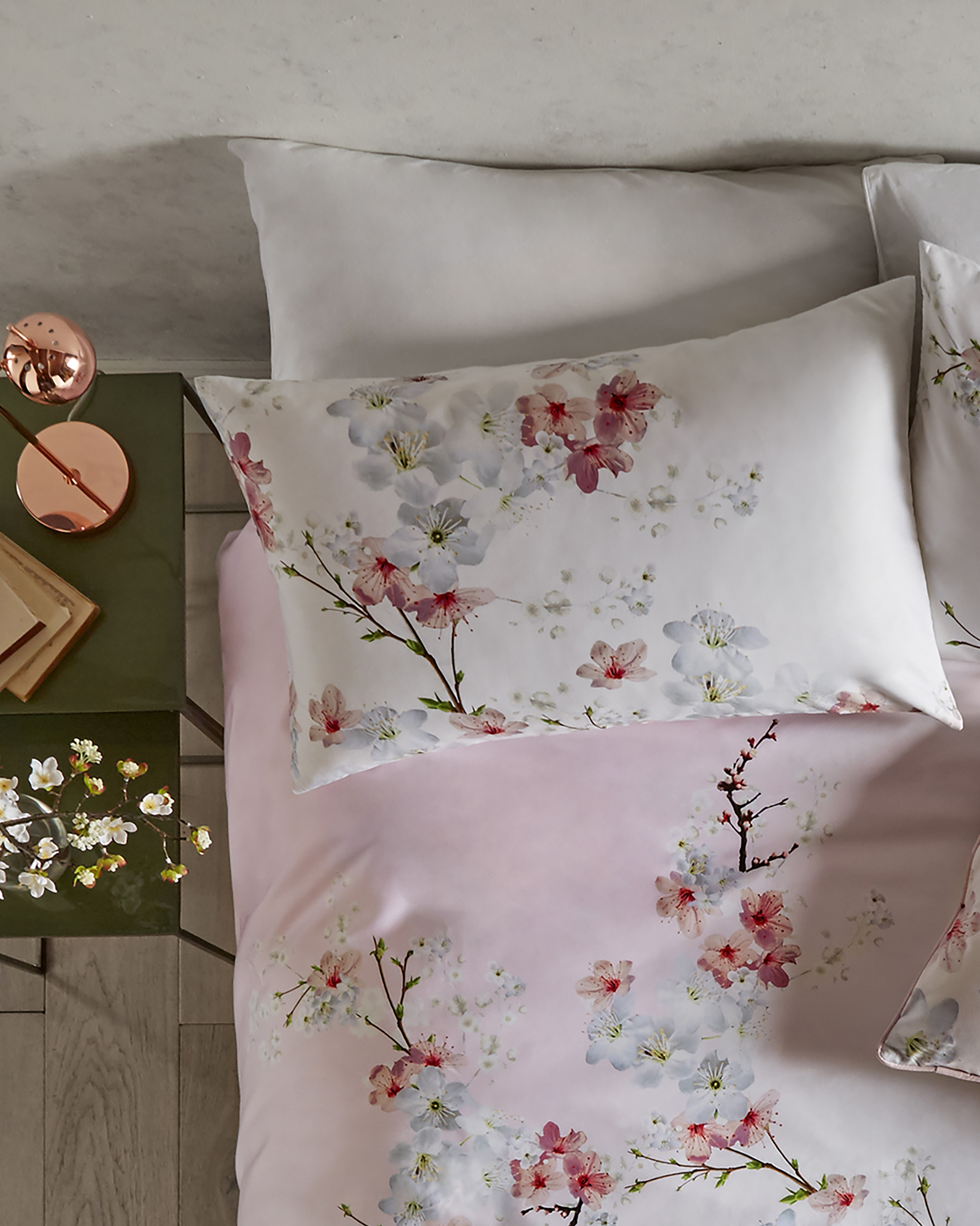 Oriental Blossom Cotton Pillowcase Set Baby Pink Women S Ted Baker Row