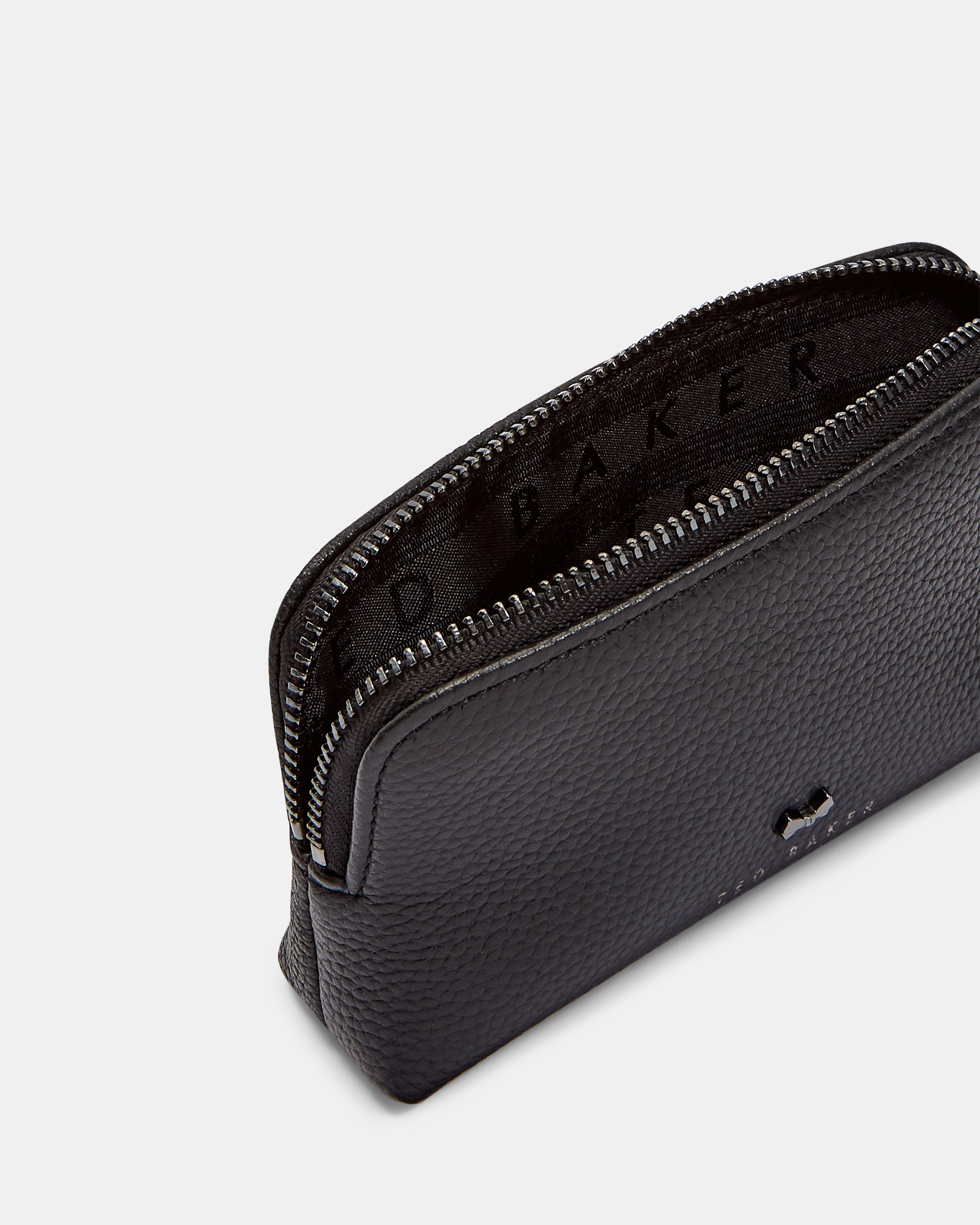 Leather bow stud makeup bag