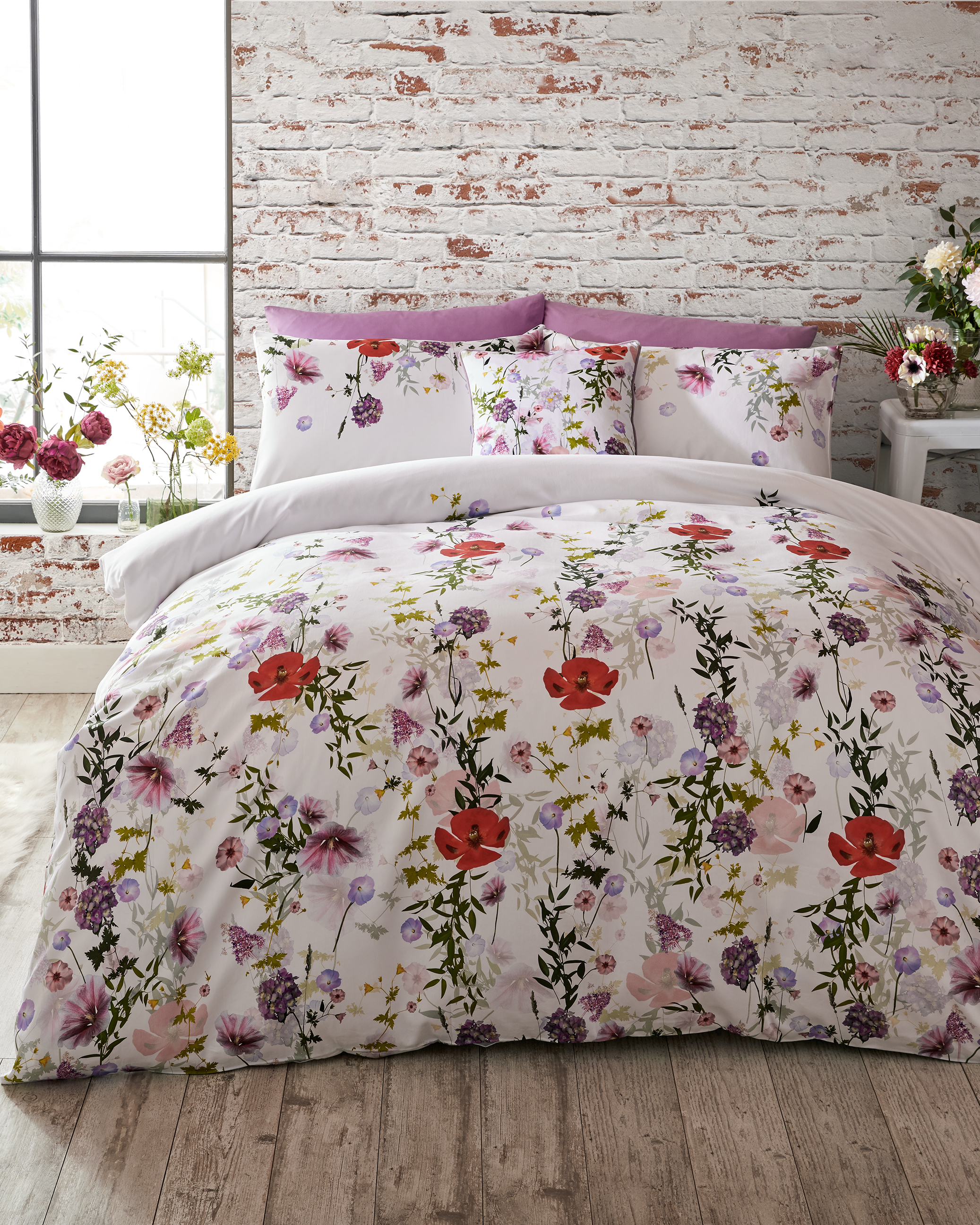 Hedgerow cotton king size duvet cover   Cream   Bed Linen   Ted