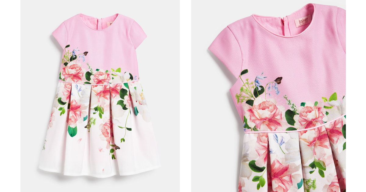 Ted Baker-Filles Feuille Ourlet Boule Rose Clair Floral Jacquard Robe