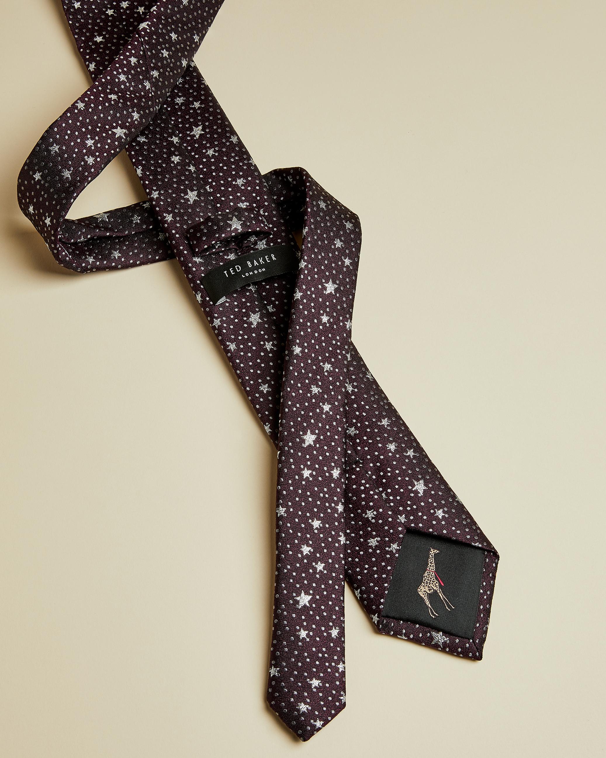 Cravate En Soie Imprimé Étoiles