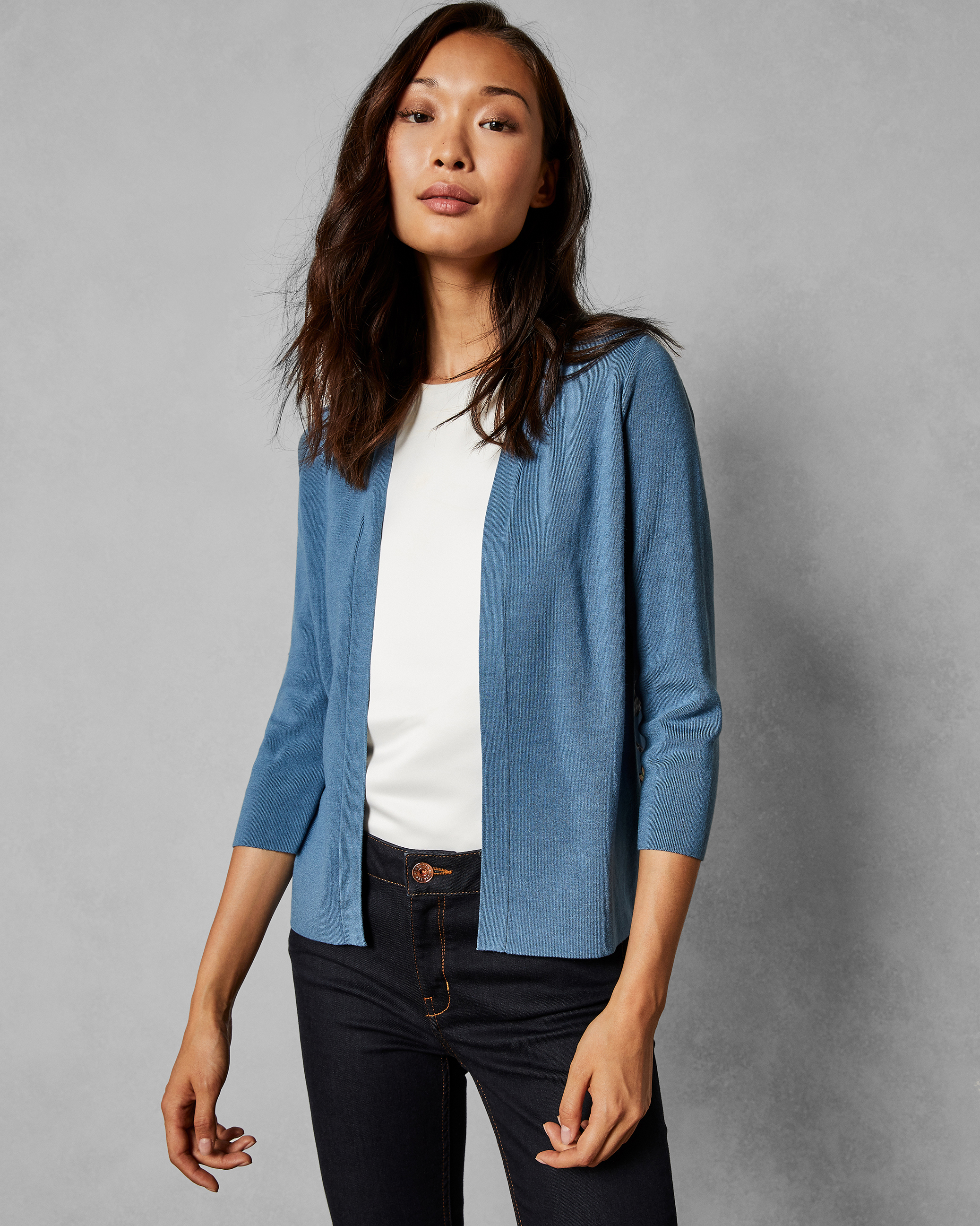 Narrnia printed back cardigan Mid Blue | Knitwear | Ted