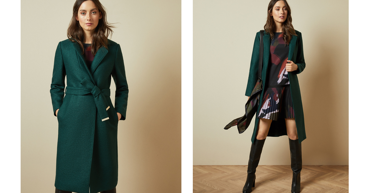 Ted Baker Chelsyy Wool Wrap Coat In Green RRP £349