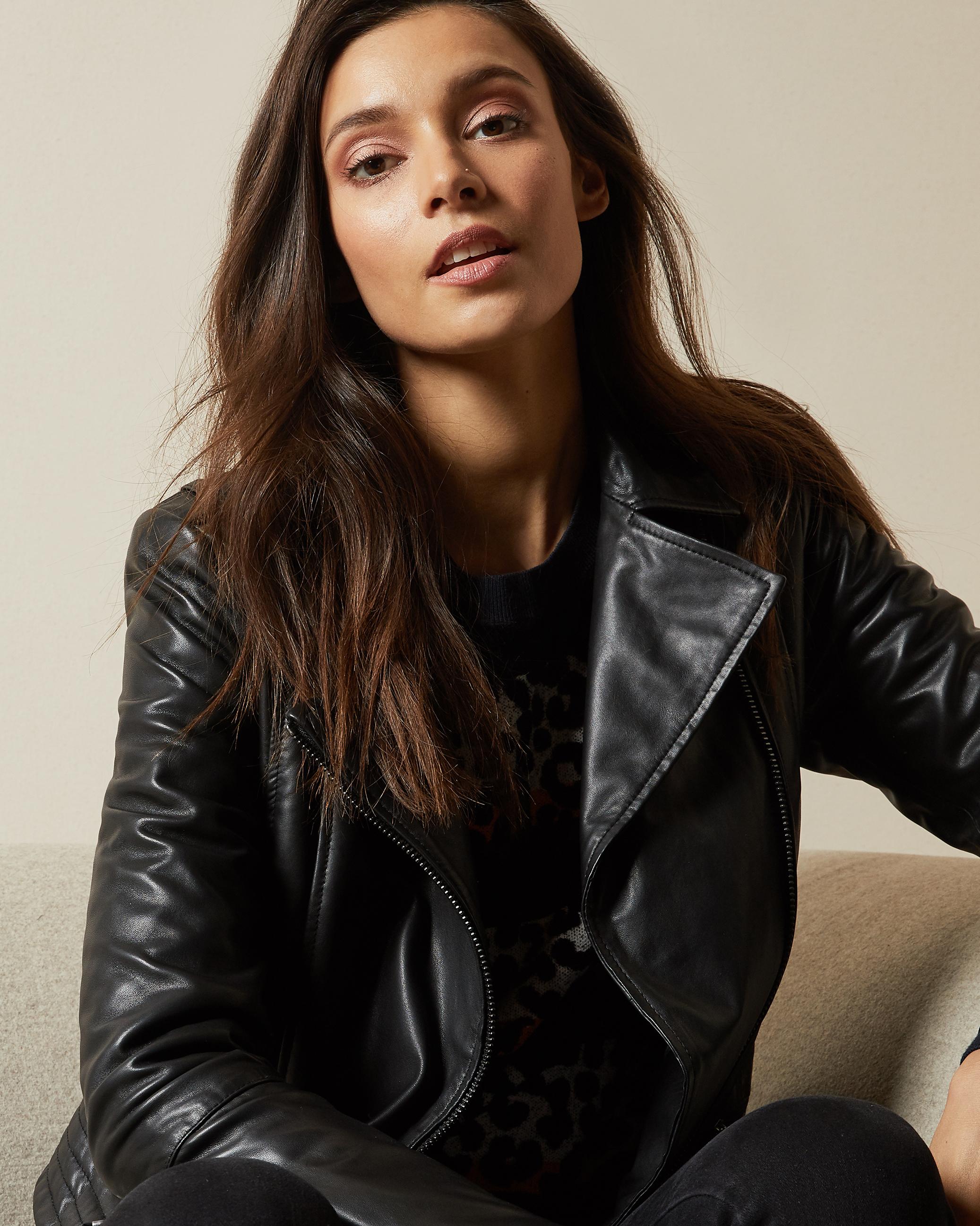 Zip Leather Biker Jacket Black Jackets And Coats Ted Baker Row