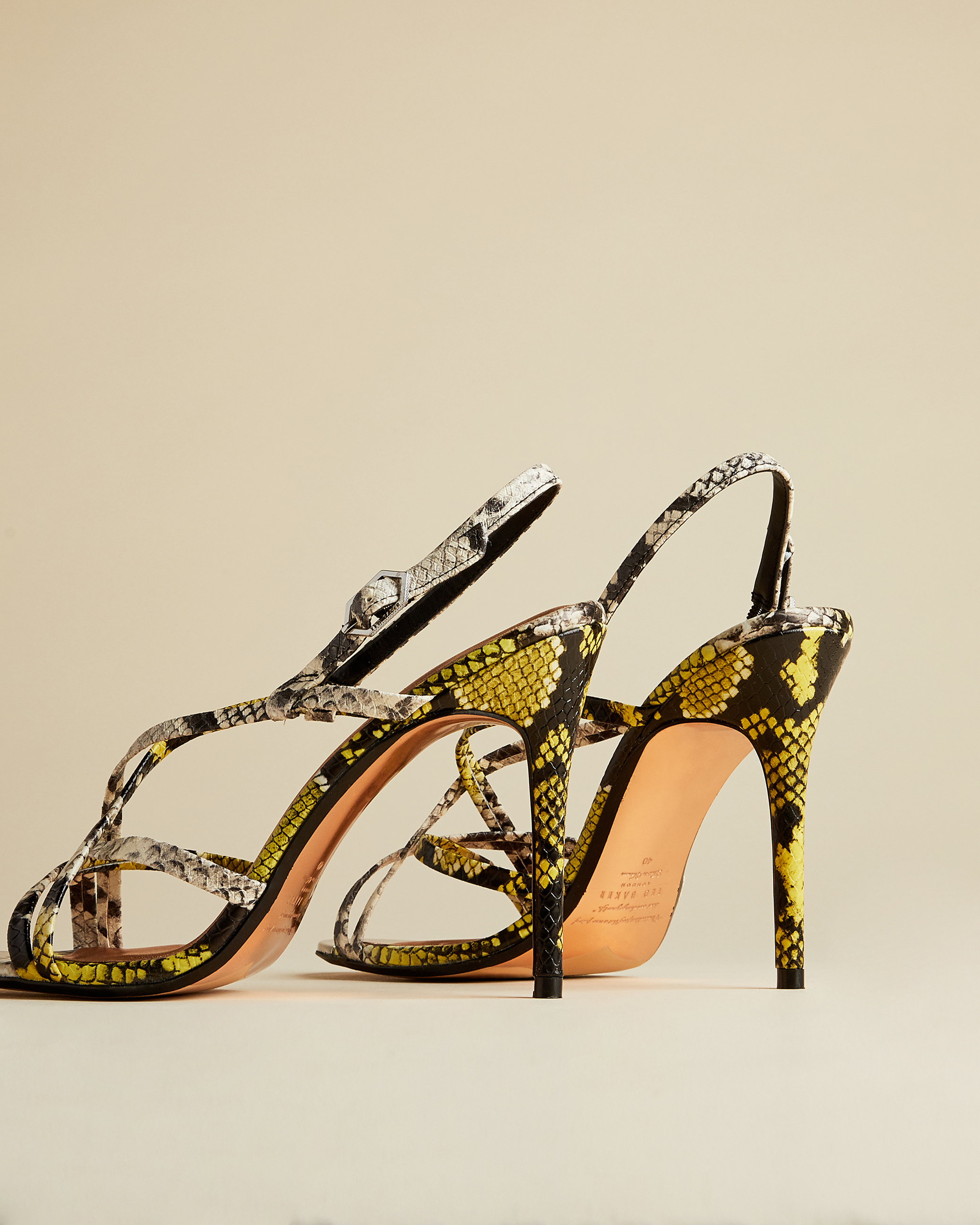 Details about  /Size 37 TED BAKER London Yellow Green Color Block Flat Sandals Snakeskin