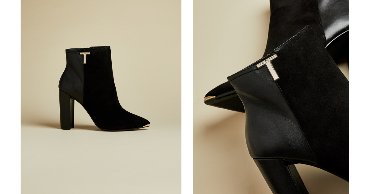 T detail suede ankle boots Black | Boots | Ted Baker UK