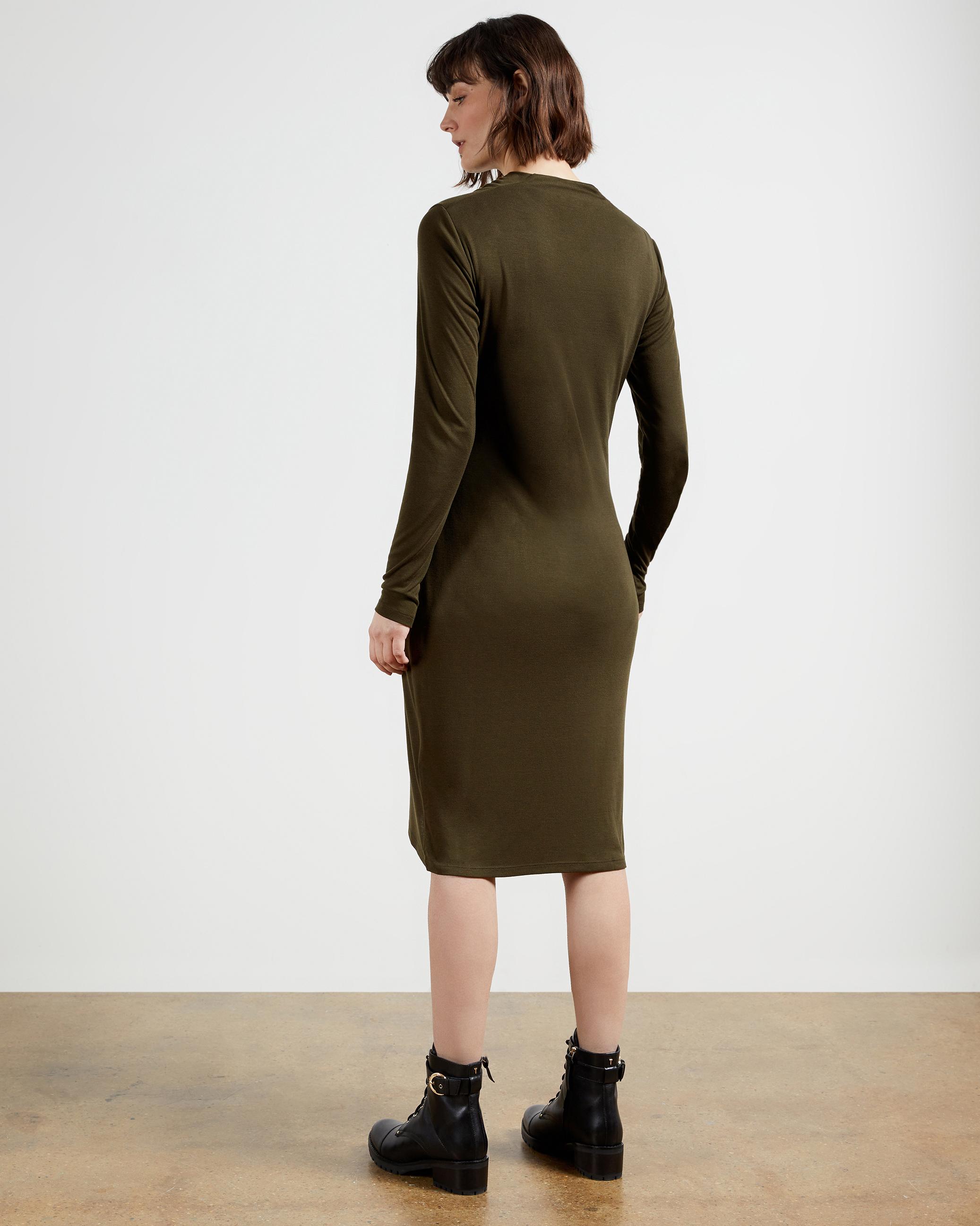 Draped Long Sleeved Jersey Dress Khaki Dresses Ireland Site