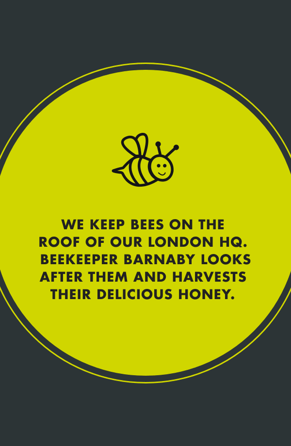 we keep bees on the roof of our london HQ. beekeeper barnaby looks after them and harvests their delicious honey.