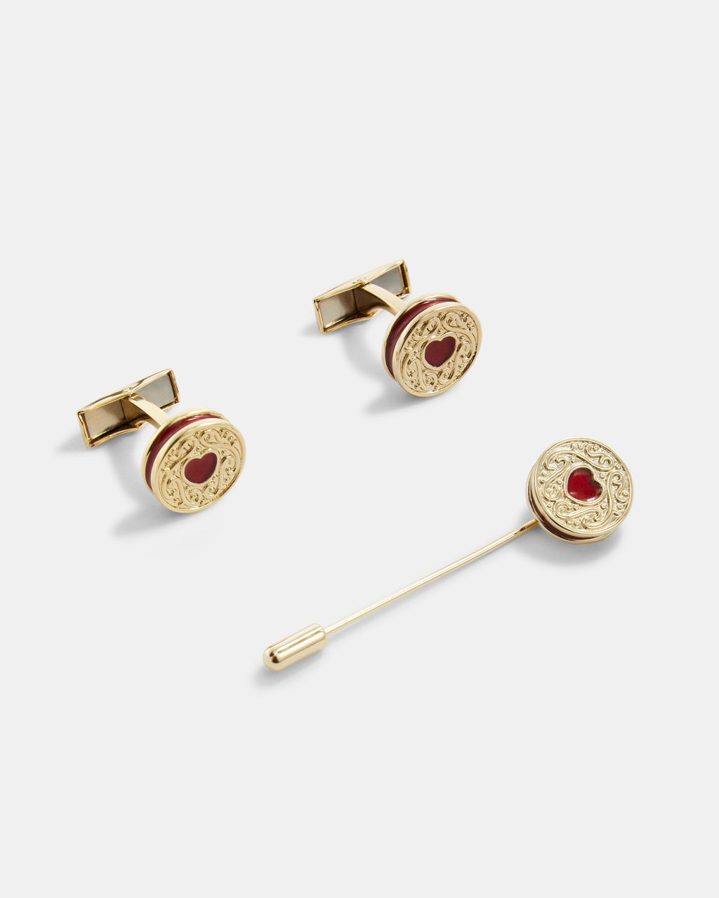 Biscuit Cufflinks And Lapel Pin Set