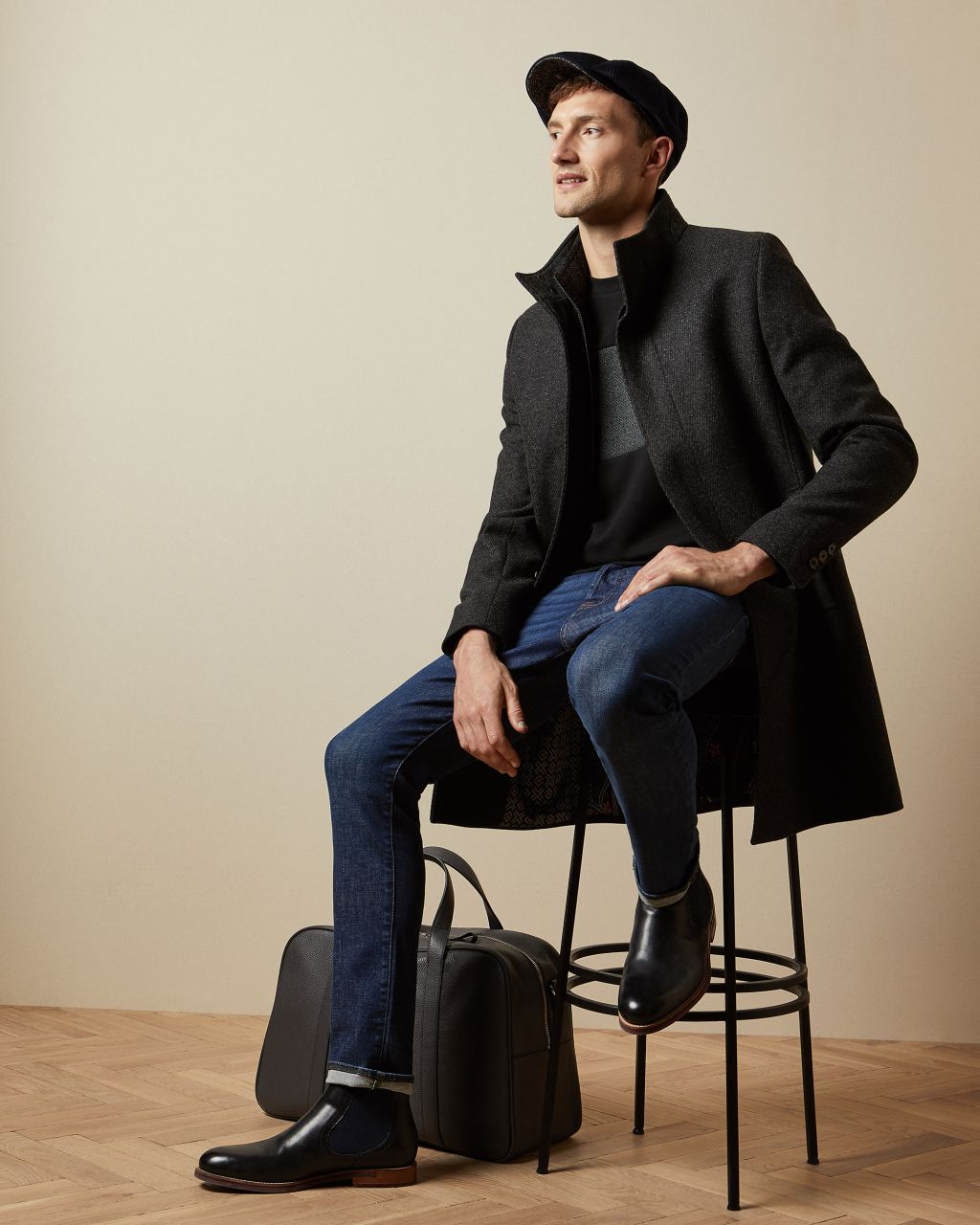Funnel Neck Coat With Removable Inner