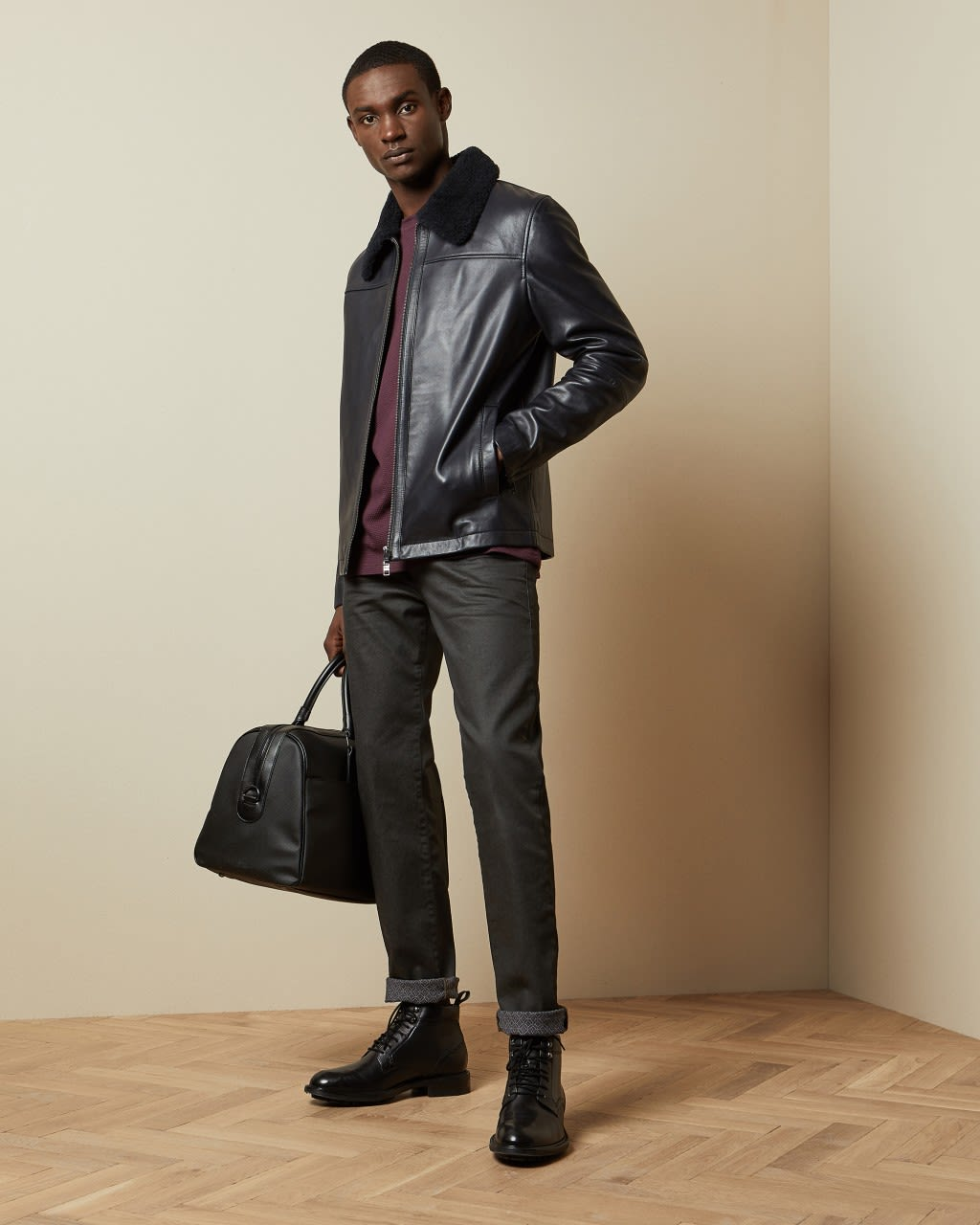 Leather Jacket With Shearling Trim