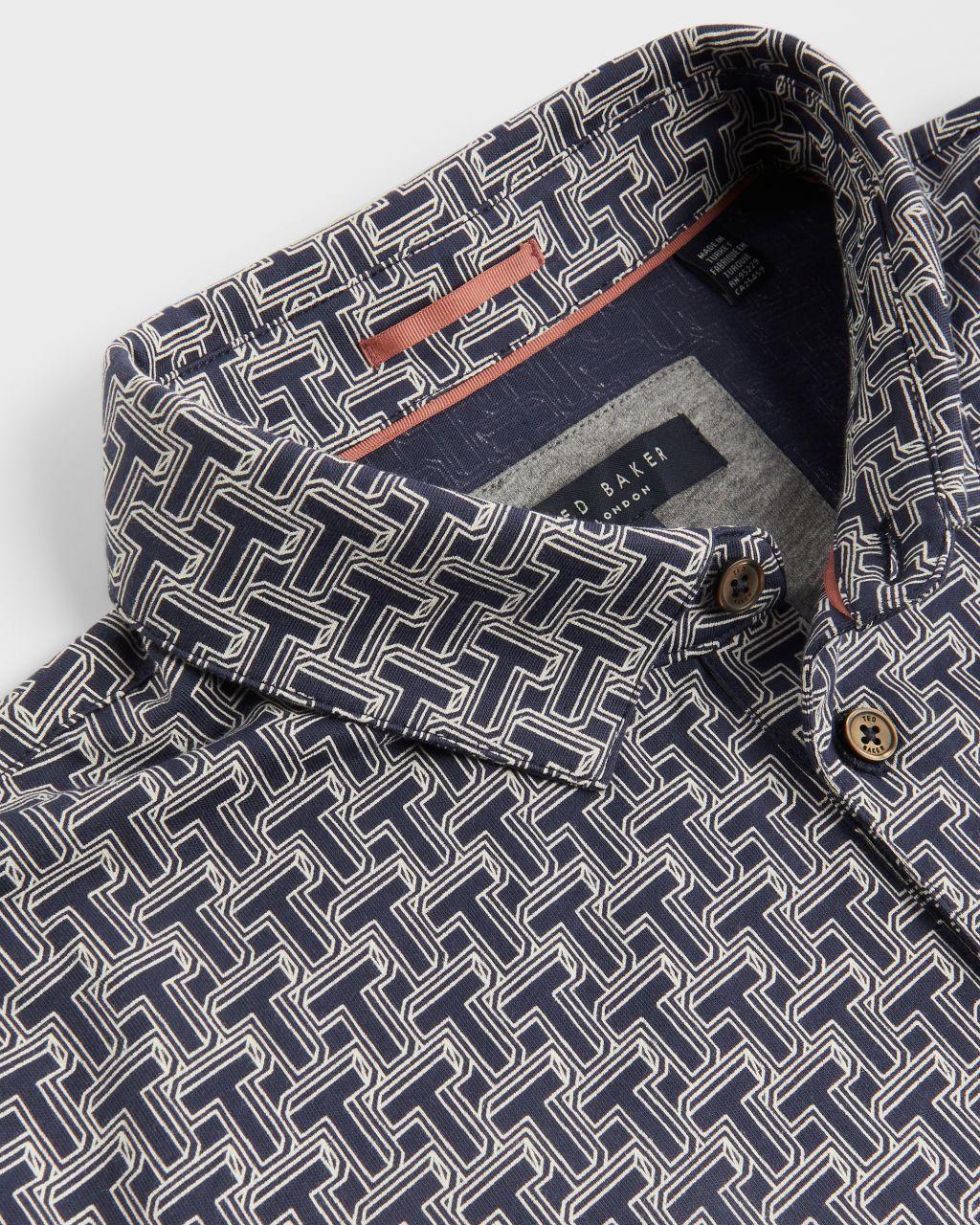 Short Sleeve T Print Polo Top