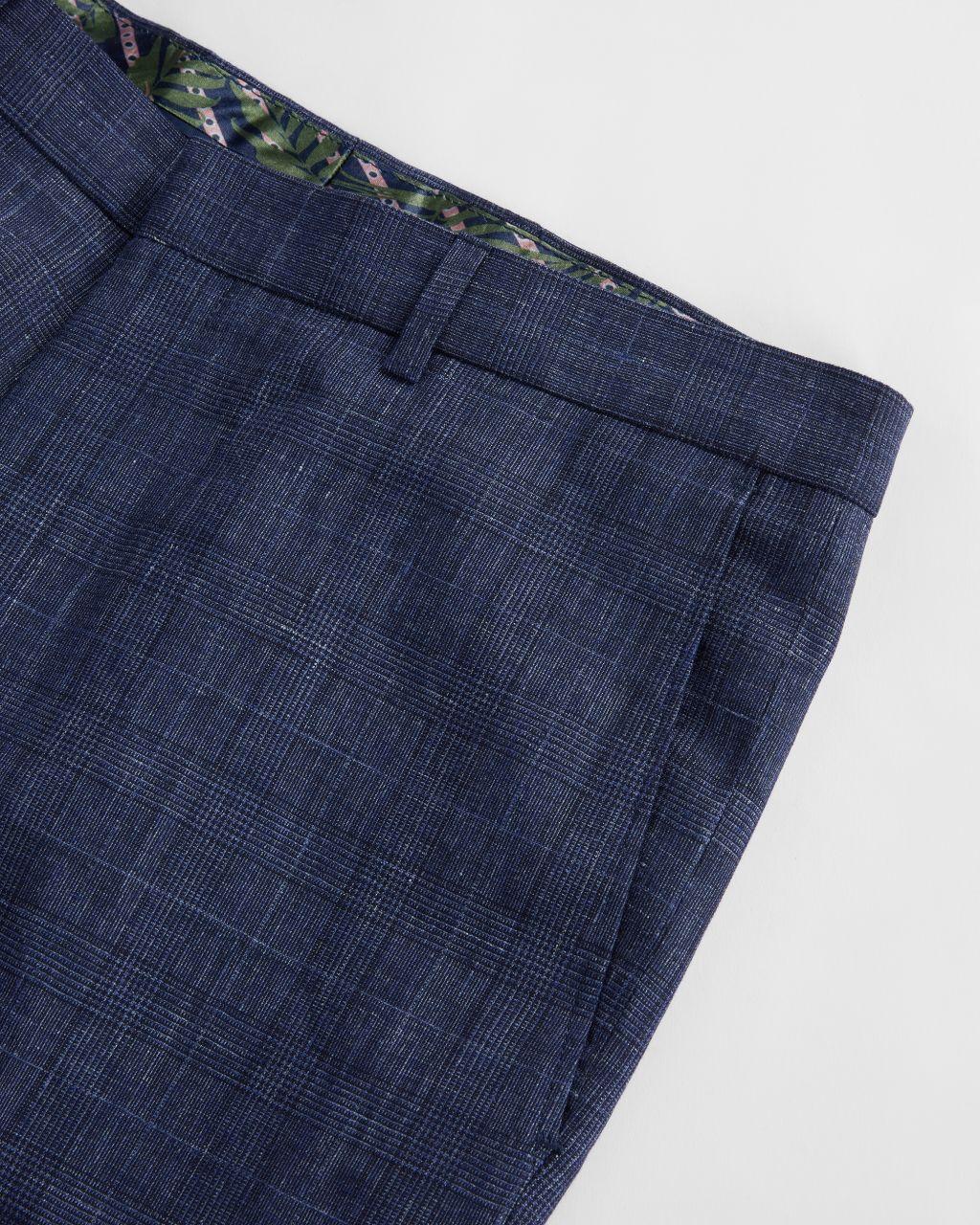 Slim Linen Check Suit Trouser