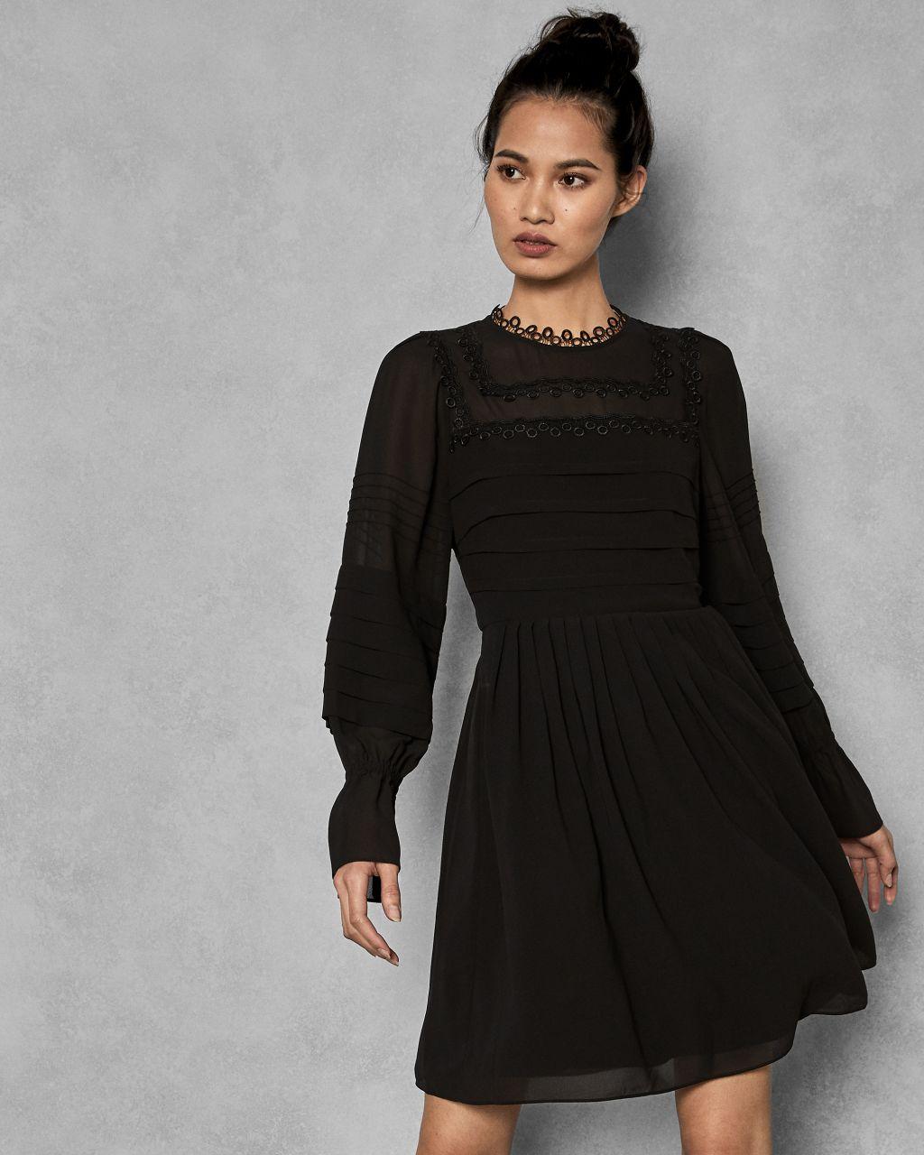 TED BAKER Besticktes Kleid Mit Voluminösen Ärmeln   TED BAKER SALE