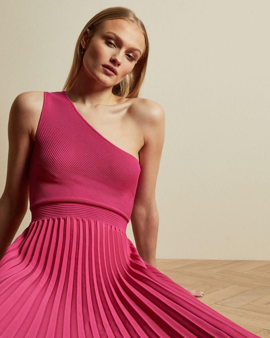 Asymmetric Knitted Midi Dress
