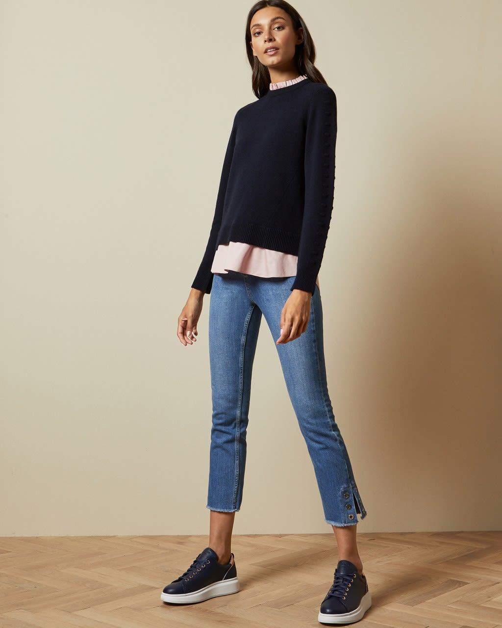 TED BAKER Pullover Mit Hemdeinsatz Und Pompons   TED BAKER SALE