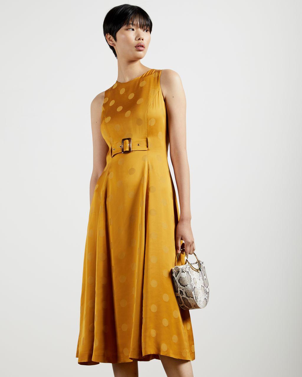A-line Belted Midi Dress
