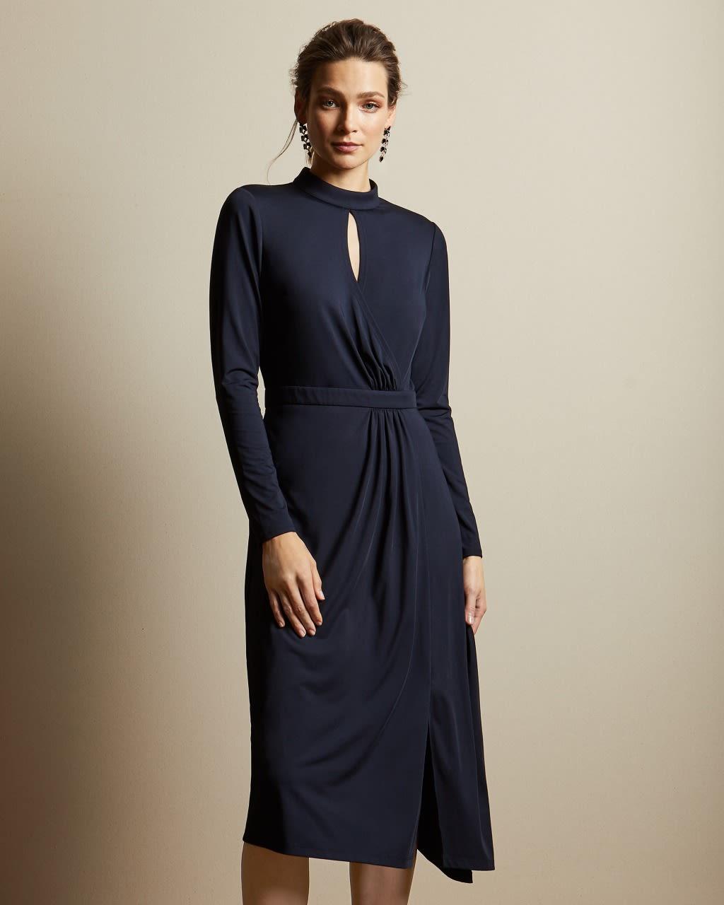 TED BAKER Asymmetrisches Kleid Aus Jersey Mit Langen Ärmeln   TED BAKER SALE