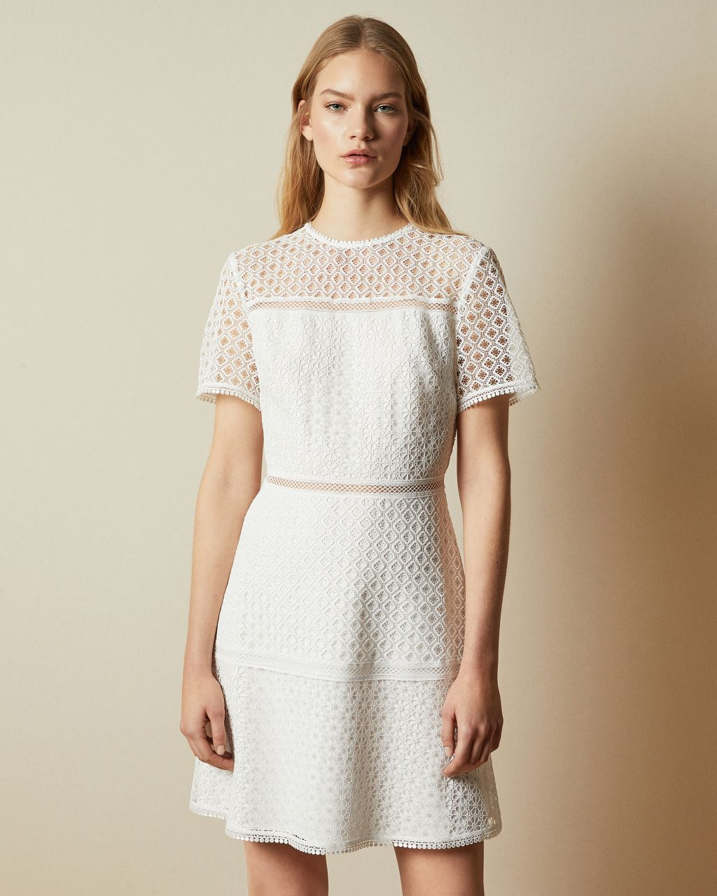 Short Sleeved Lace Mini Dress