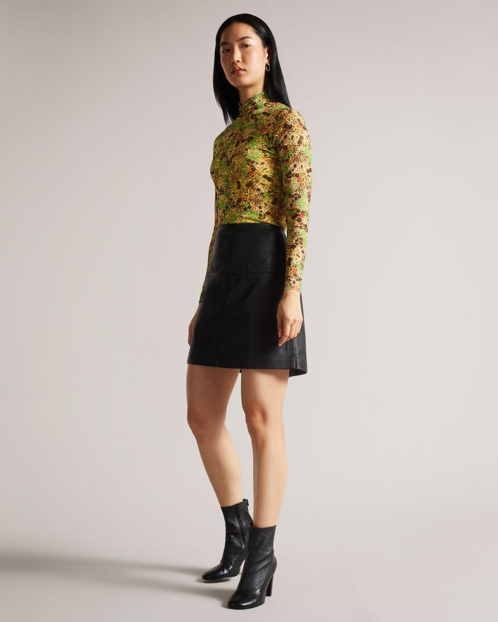 A-line Leather Mini Skirt