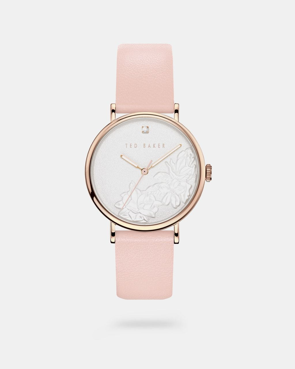 Embossed Dial Leather Strap Watch