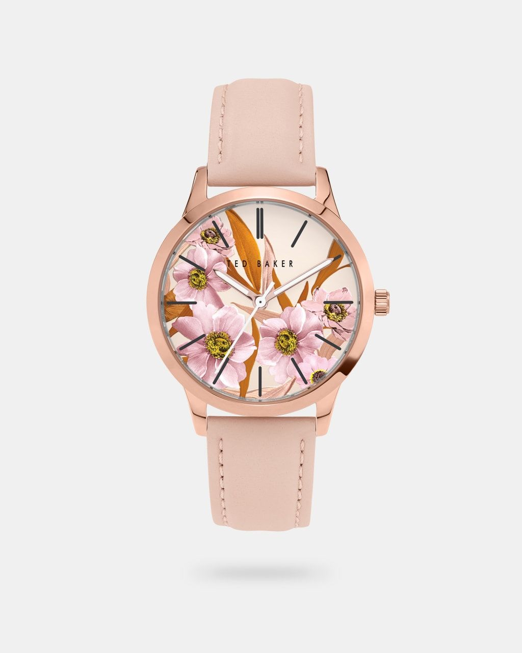 Leather Strap Floral Dial Watch