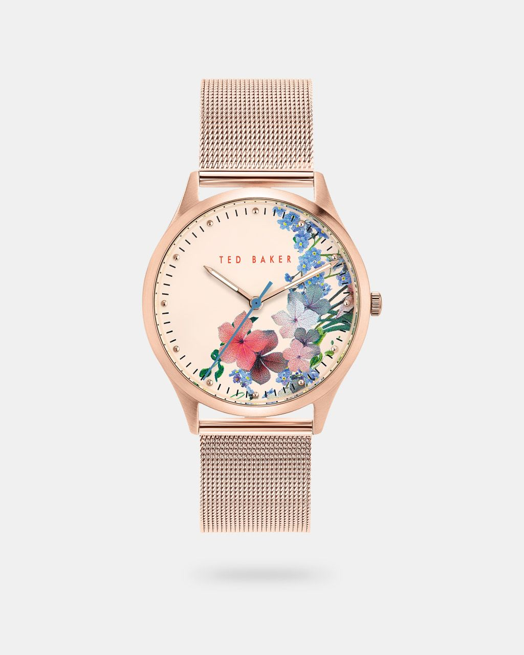 Floral Dial Mesh Strap Watch