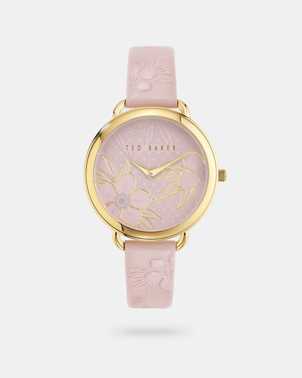 Floral Embossed Leather Strap Watch