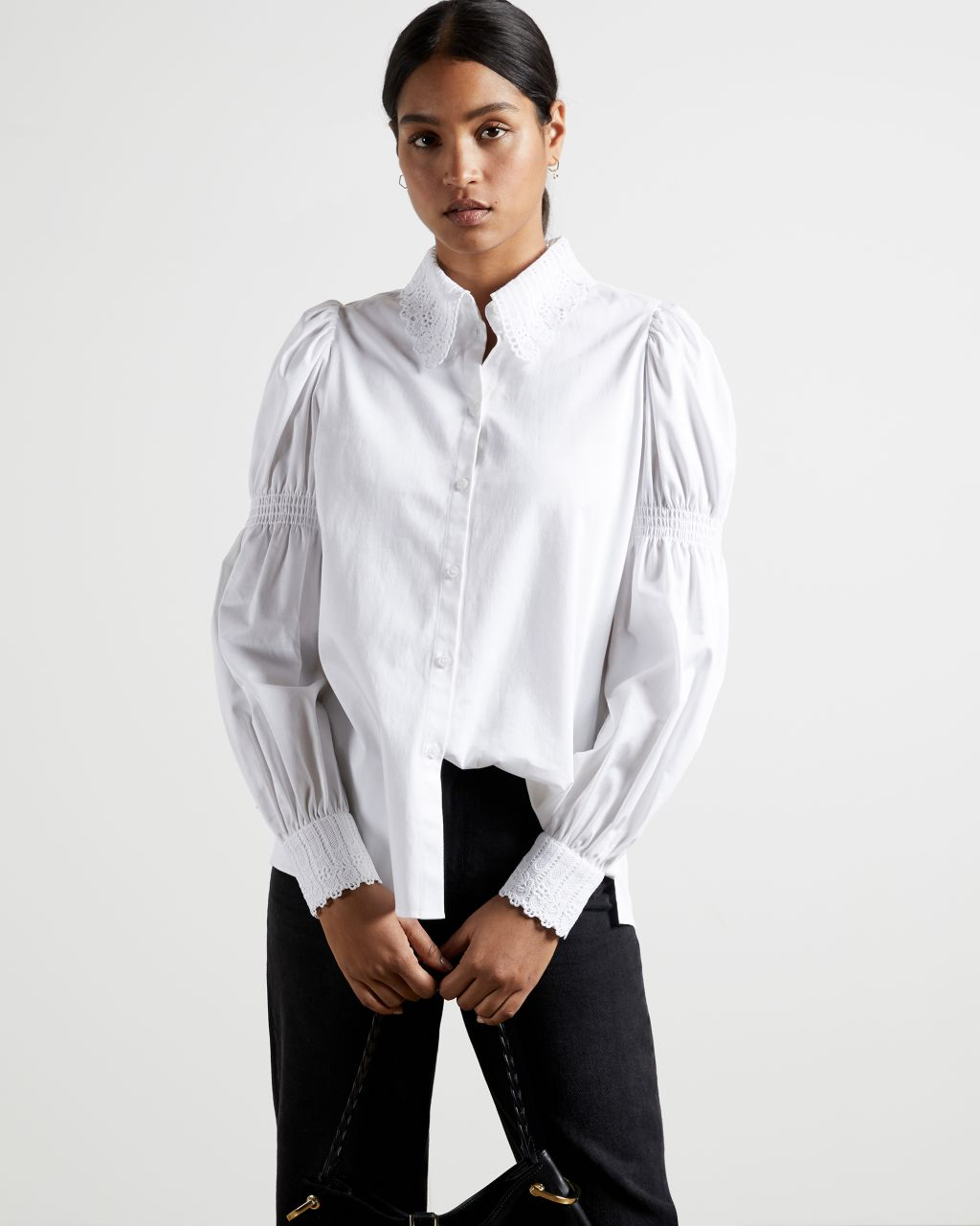 TED BAKER Cotton Shirt With Lace Trim   TED BAKER SALE