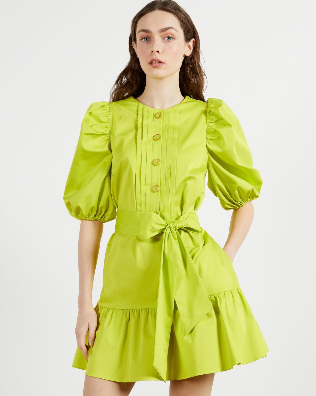Button Front Long Sleeve Mini Dress