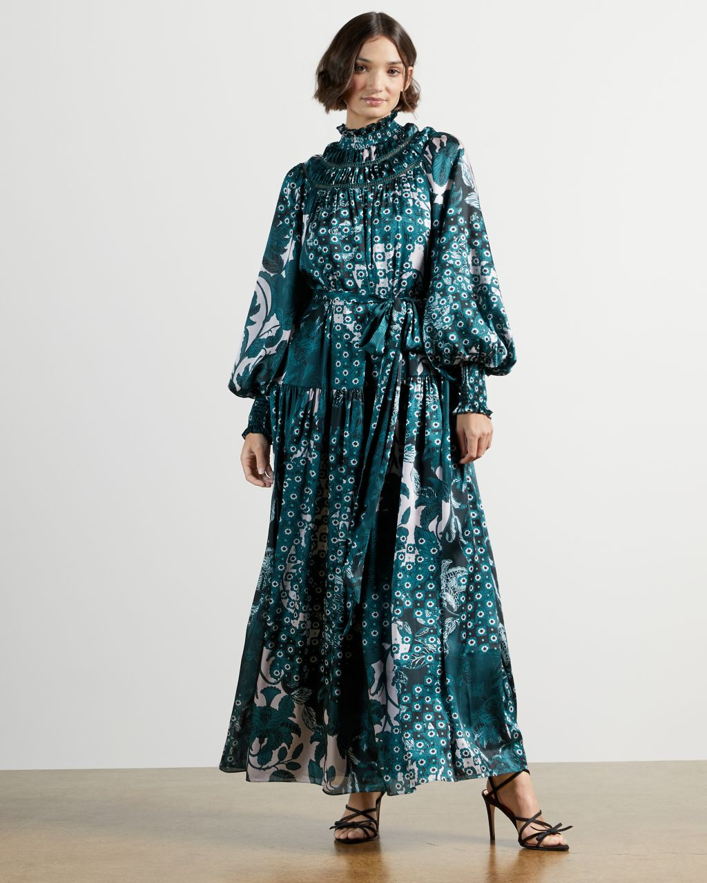 TED BAKER Trapeze Smocked Neck Maxi Dress   TED BAKER SALE