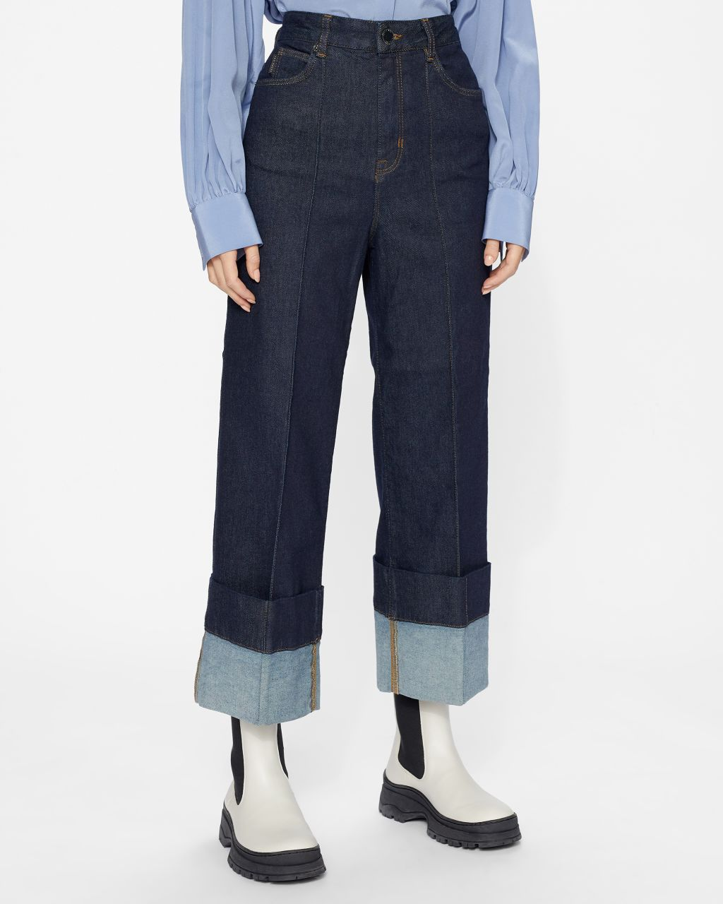 Deep Turn Up Denim Jean