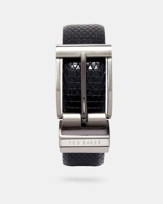 Reversible textured leather belt Black   Outlet   Ted Baker UK