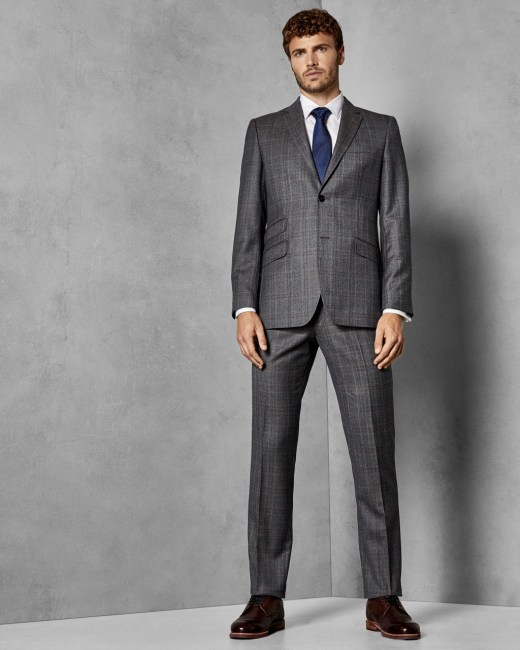 Classic Checked Wool Suit Trousers Grey Suits Ted Baker Uk