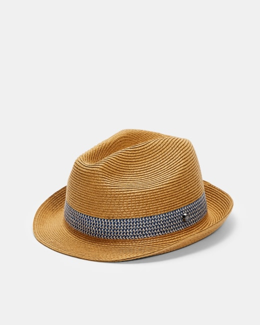 TED BAKER LONDON LEMONY NATURAL STRAW TRILBY HAT