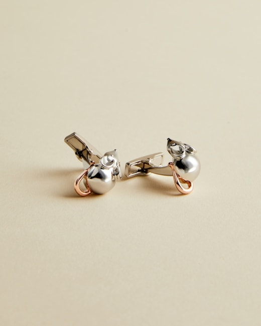 TED BAKER LONDON CENTREL SILVER COLOURED MOUSE CUFFLINKS