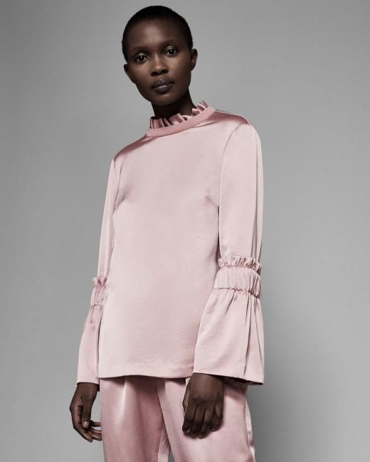 NEW Ted Baker Womens Myani Frilled Sleeve High Neck Top Khaki 8,10,12,14 UK