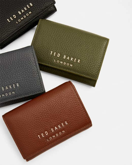 Statement letters mini leather purse Khaki   Purses   Ted