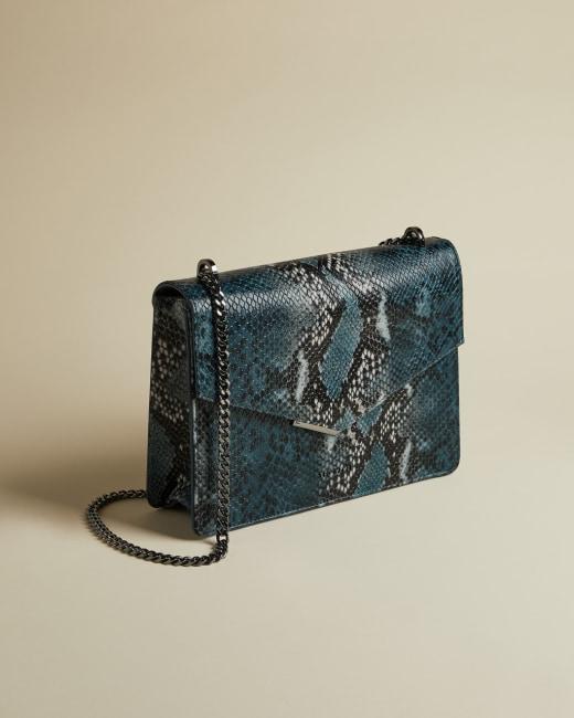 Leather Snake Print Cross Body Bag