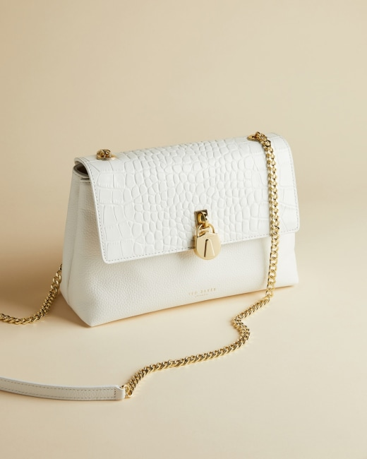 Exotic Leather Cross Body Bag White