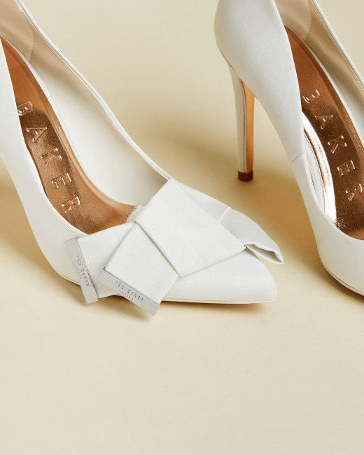 Satin bow detail courts - Ivory | Shoes