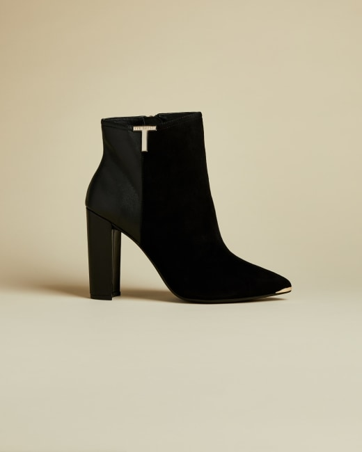 T detail suede ankle boots Black | Boots | Ted Baker