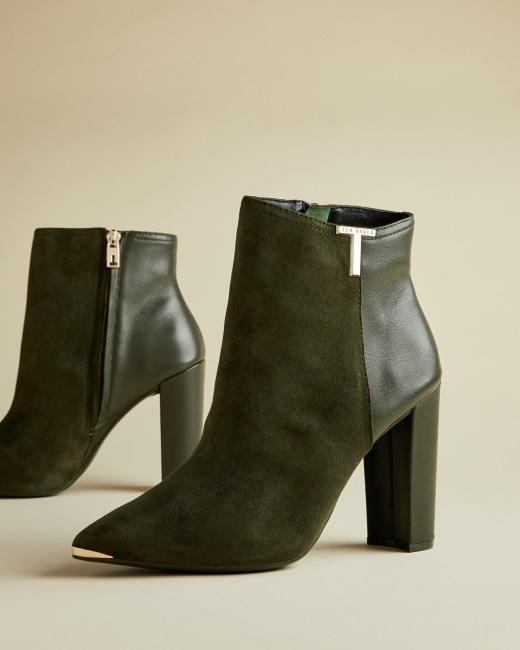 T detail suede ankle boots Khaki | Boots | Ted Baker