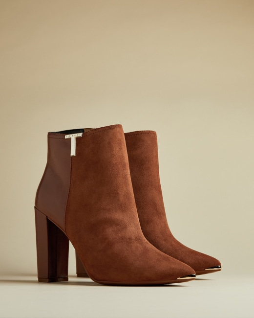 T detail suede ankle boots Tan | Boots | Ted Baker