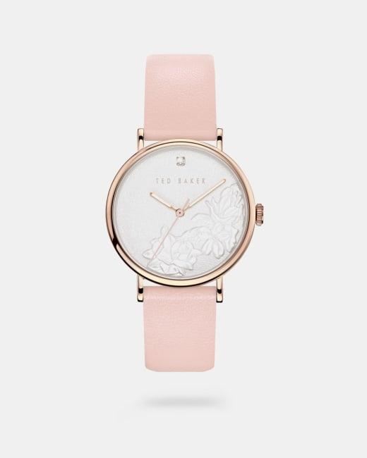 Uhr mit geprägtem Zifferblatt und Lederarmband Rosa