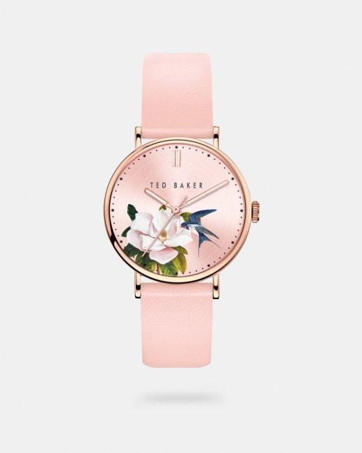 Uhr mit Zifferblatt mit Opal Print und Lederarmband Rosa