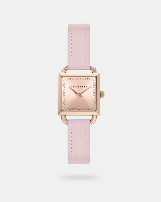 Eckige Uhr mit Lederarmband Rosa   Uhren   Ted Baker DE