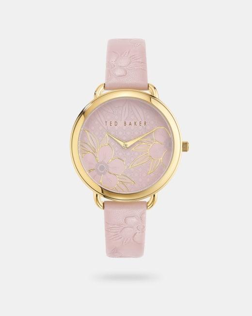 Uhr mit floralem Zifferblatt und Lederarmband Rosa   Uhren