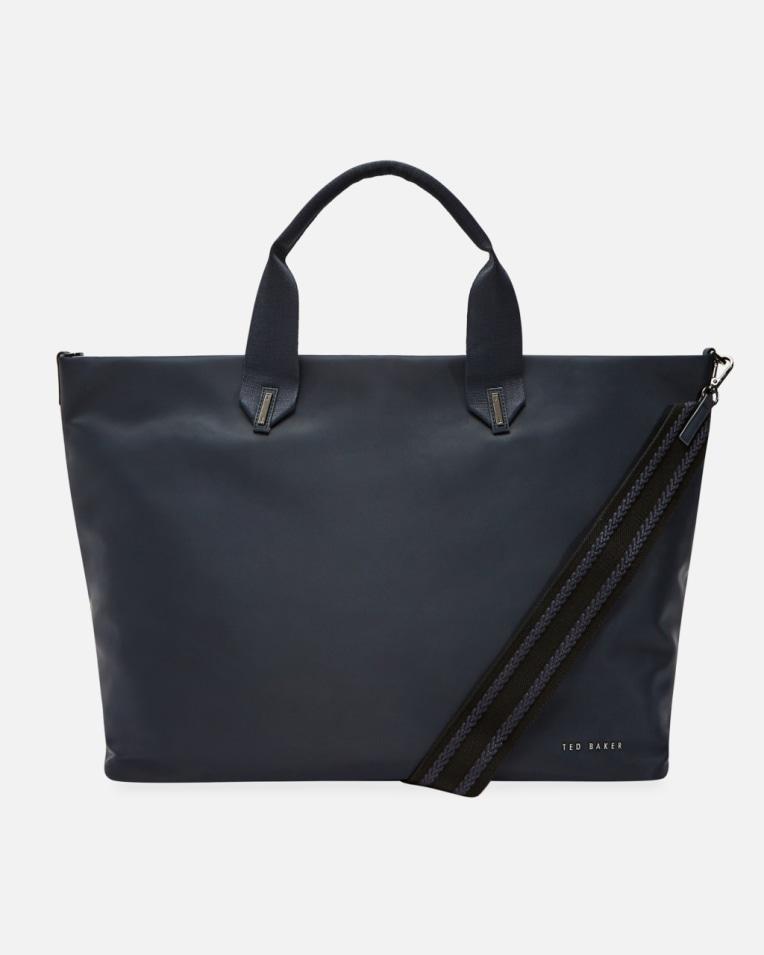 Dark Blue Plain large nylon tote bag